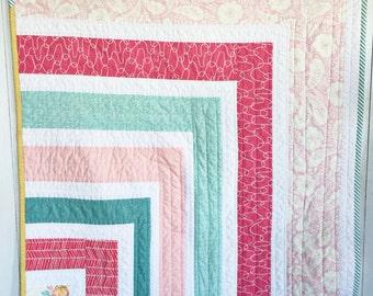 Sunrise Garden- Modern Baby Quilt, Modern Crib Quilt; Nursery Decor; Baby Quilt