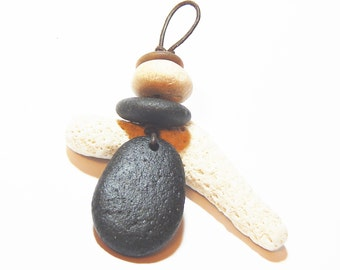 Hand Drilled Beach Stone Cairn Necklace, Petoskey Stone, Lake Michigan, upnorth, Pebble Jewelry