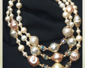 Vintage marked JAPAN Multi-strand Faux Pearl and AB Glass Bead Necklace