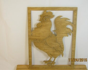 ROOSTER SCROLL Saw PLAQUE