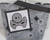 Funky Skull Large Tote bag Cyber Skull Shoulder Bag Grey and Silver Purse