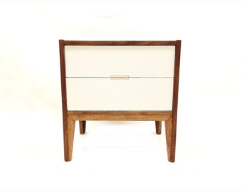 Vintage MCM End Table In Wood and White