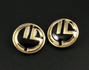 St. John Earrings, St. John Logo Earrings, Designer Earrings, Medallion Earrings, Gold Earrings, Black Earrings