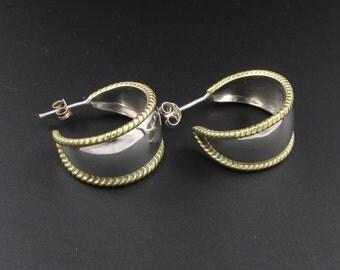 Sterling Silver Hoop Earrings, Sterling Silver Earrings, Mixed Metal Hoop Earrings, Silver and Gold Earrings, Half Hoop Earrings