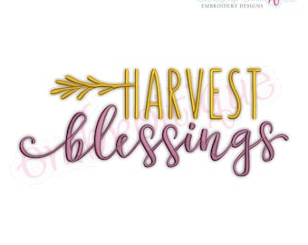 Harvest Blessings - Thanksgiving - Instant Download Machine embroidery design