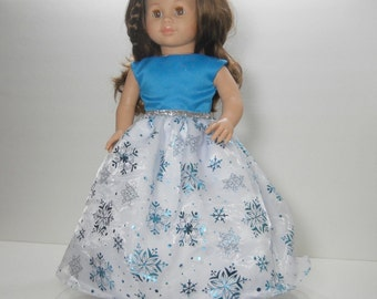 18 inch doll clothes made to fit dolls such as American Girl®, Turquoise Party Fancy Gown Snowflake Dress, 10-1413