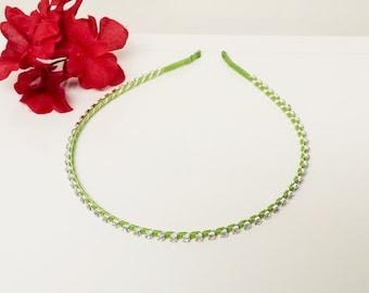 Key Lime Satin Ribbon Enhanced Rhinestone Bridal Headband for Bridesmaid, Prom, Flower Girl or Wedding Party