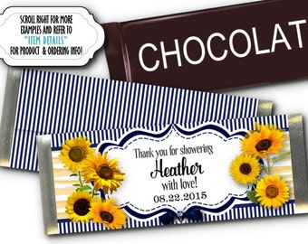 12 Candy Bar Wrappers, Party Favors, Baby Shower, Bridal Shower, Birthday Party, Wedding, Sunflowers, Navy & Yellow Color Scheme