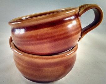 Pottery Soup Mug, Pottery Soup Bowl, Soup Bowl with Handle, Soup Mug, Soup Crock, Oversized Mug, Cappuccino