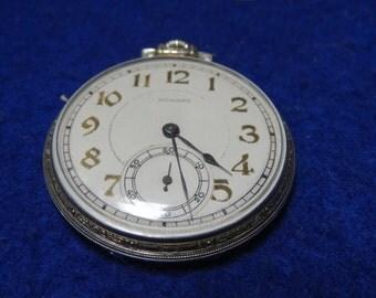 Nice Gentleman's Howard Sunday Pocket Watch In White GF Case