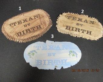 Stoneware Texan by Birth Plaque