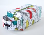 Zippered Knitting Crochet Project Box Bag - Feather Sketch - Green  Zip