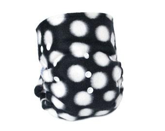 Cloth Diaper Cover OS, Fleece - Black and White Polka Dot