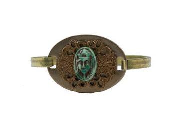 Filigree & Egyptian Cabachon Brass Bracelet   B4720