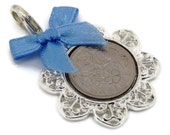 Lucky English Sixpence Coin Charm.  Pick Year from 1954 to 1967 and Bow.  Something old, something new, something borrowed, something blue!