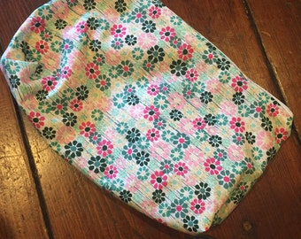 Blue and pink floral cosmetic bag