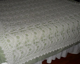 New Crochet Afghan (90inches x 90 inches) - Crochet Blanket - Crochet Throw - Crochet Bedspread - Crochet Coverlet  ''FANFARE''  in Aran