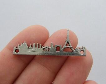 2 Paris Eiffel tower connector charms antique silver tone WT63