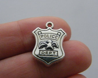 BULK 20 Police dept charms antique silver tone G59
