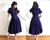 ON SALE 1950s Dress / 50s Purple Wool Dress