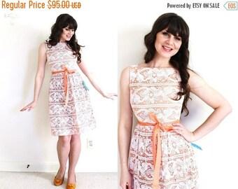 ON SALE 1960s Lace Dress / 60s Peach Dress / 50s 60s Bridesmaid Dress