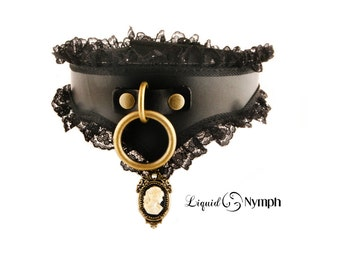 Cameo BDSM Collar Black Leather Lace Steampunk Bondage Hand Made in USA Beautiful Victorian Slave & Fetish Choker - Discreet Day DDLG Collar