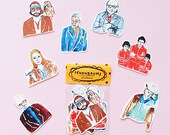 Tenenbaum Sticker Pack -Set of 7 - Vinyl Stickers - Hand Drawn Sticker - Handmade Sticker - The Royal Tenenbaum Sticker- WesAnderson Sticker