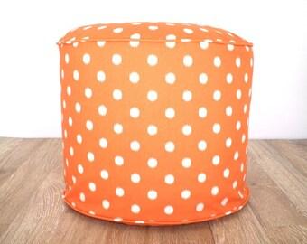 Orange floor pouf girls nursery decor, pumpkin orange pouf ottoman, round floor cushion dorm decor, bean bag chair, round pouffe