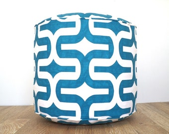 """Turquoise floor poof, round pouf ottoman 18"""", teal and white pouffe, geometric bean bag chair for children room, round floor cushion"""