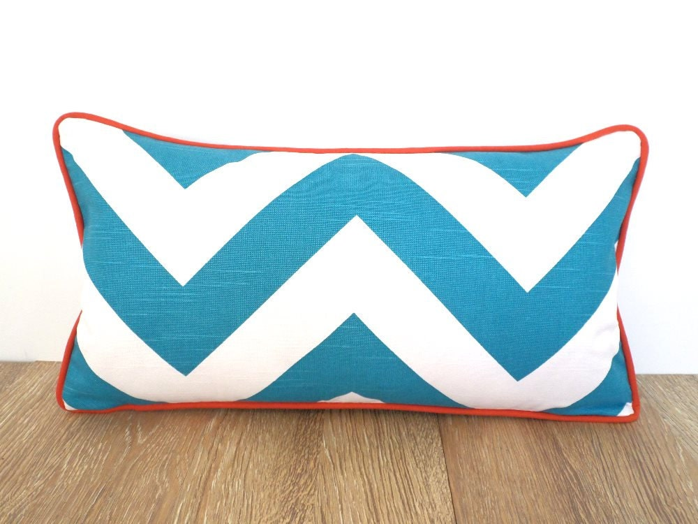 Small Beach Throw Pillows : Turquoise pillow case chevron lumbar cover beach house decor