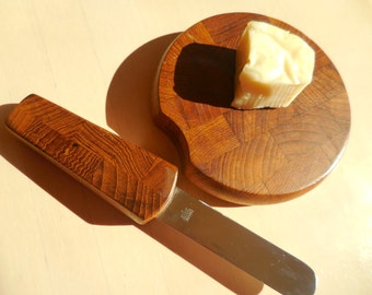 Vintage DANSK Cheese Board with Builtin Knife