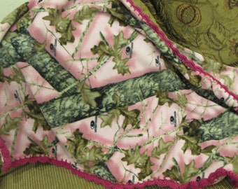 Baby Blanket With Crochet Hot Pink Shell Ruffle - Bright Pink With Outdoors Country Nature Trees - Baby Girl