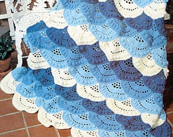 SALE*****  Crochet Pattern for Pretty Layered and Scalloped Afghan Blanket Cover or Rug