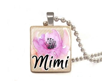 Mimi Necklace | Mother's Day Necklace | Necklace for Mimi | Mimi Gift | Mimi Charm | Mimi Pendant | Wood Necklace | Mimi Flower Necklace