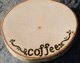 Coffee Mug Coaster Rustic Birch Wonderful Gift