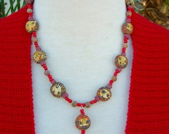 Whimsical Rustic Indonesian Glass Faces, Faience, Wood & Glass Beads, from the Faces Collection, Necklace Set, Teen Necklace