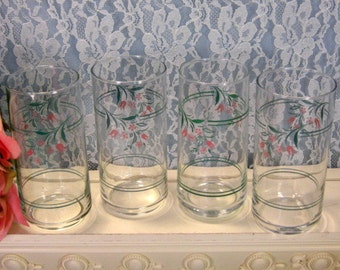 Corelle Corning Ware Rosemarie Water Ice Tea Tumbler Glass, Set of Four, Vintage Dinnerware, Kitchen Pyroceram Glass, Corning Ware Casserole
