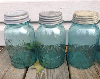 Set of THREE Blue Ball Mason Jars with Zinc Lids