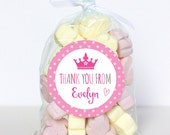 """Pink Princess """"Thank You"""" Stickers - Sheet of 12 or 24"""