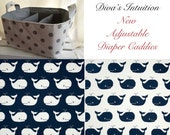 Diaper Caddy, Whale Fabric Basket bin with adjustable and removable dividers Navy