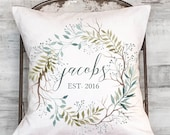 Personalized gift Housewarming Gift Wedding Gift Anniversary Gift Teal Wreath Pillow Cover