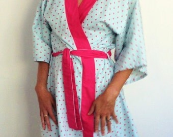 Cotton robe dressing gown bridesmaid gift getting ready robe summer robe polka dot contrasting trim