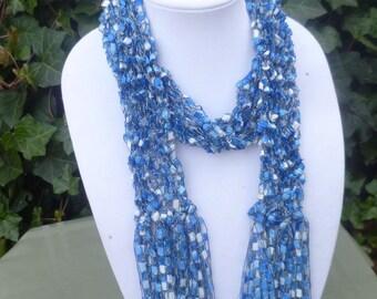 Hand Knit Trellis scarf, Hand Knit Ribbon Scarf, Hand Knit Scarf, Hand Knit Fringe Scarf, Hand Knit shaggy scarf