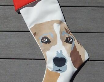 "BEAGLE STOCKING 24"" Christmas dog best friend hound canine family pet tricolor termite sniffer AKC Snoopy Crabby Chris Original"