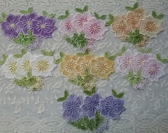 Pansy Lace Flowers Hand Dyed Venise Crazy Quilt Applique Embellishment