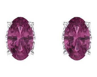 14kt White Gold AA Pink Tourmaline Oval Studs & October Birthstone Earrings, Gold Earrings, Gemstone Studs