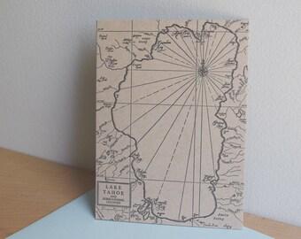 Lake Tahoe Letterpress Map Card