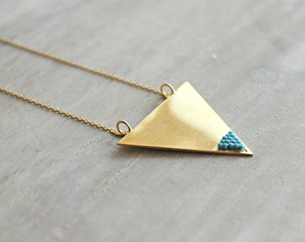 Gold Triangle Necklace With Beads, Pendant Necklace, Silver Triangle Pendant, Modern Jewelry, Everyday Necklace, Geometric Necklace