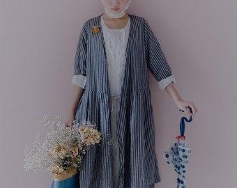 Linen stripe robe dress