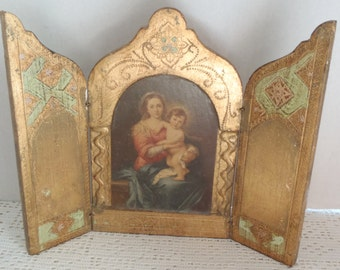 Vintage Triptych Italian Florentine Gilt Murillo Madonna and Child